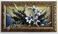 Картина из кожи Орхидеи белая-синяя-красивая