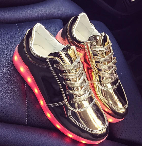 LED кроссовки Gold Золото со Светящиеся подошвой 40р