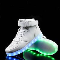 """LED ботинки """"Белые высокие"""" со Светящиеся подошвой 41 размер"""