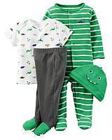"""4 в 1 набор для новорожденного Carters """"Зелёный зубастик"""""""
