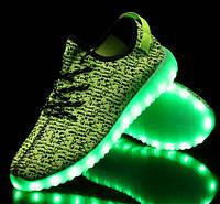 """Светящиеся Led кроссовки Yeezy Boost """"Зеленые изи буст"""" со Светящиеся подошвой"""
