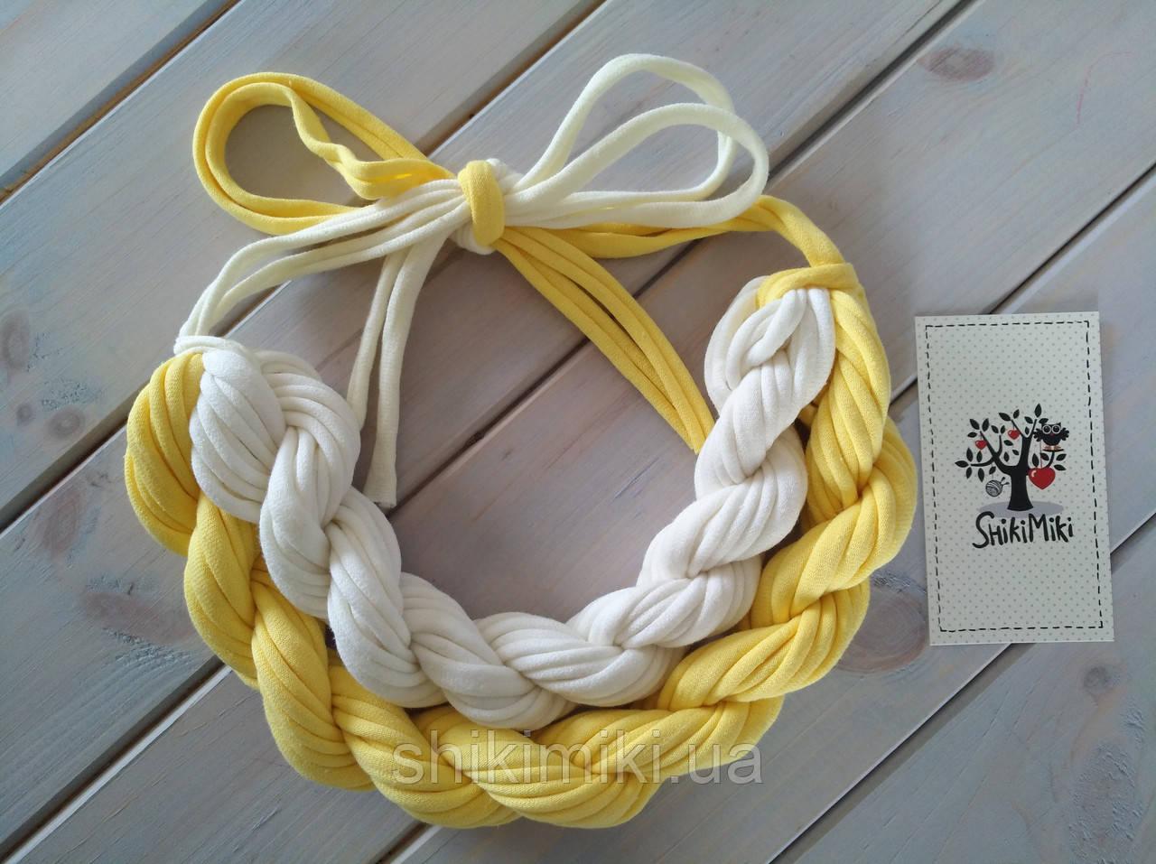 Колье женское вязаное из трикотажной пряжи Ромашка