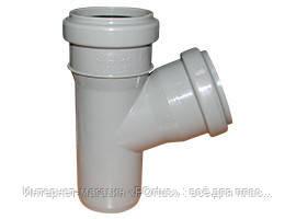 Тройник ПП Wavin с раструбами и уплотнительными кольцами для внутренней канализации серый 50х40/67º