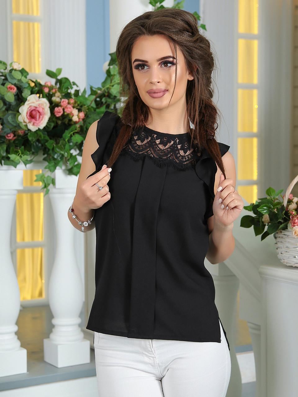 8a939fafb57 Летняя Блузка с кружевом черная - LILIT ODESSA оптово-розничный магазин  женской одежды в Одессе