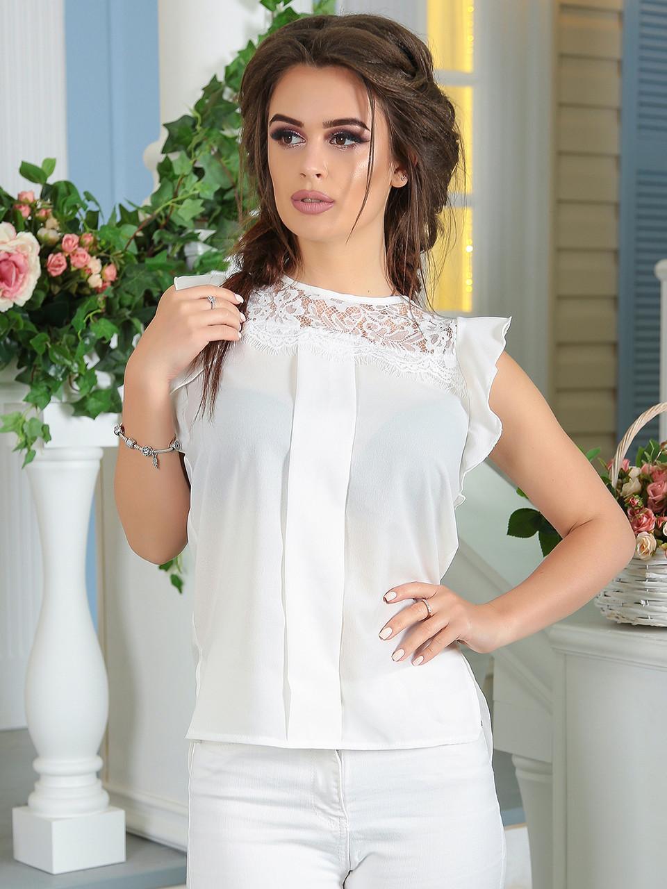 Летняя Блузка с кружевом белая