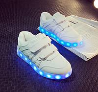 """Детские LED кроссовки светящиеся """"Белые детские"""" со светящейся подошвой 25-26"""