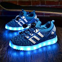 """LED кроссовки """"тканевые детские синие""""  со светящейся подошвой"""