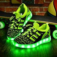 "LED кроссовки ""тканевые детские зеленые"""