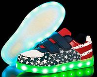 """Светящиеся кроссовки """"Американский флаг сеточка"""""""