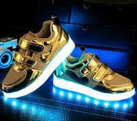"""Светящиеся кроссовки """"Золото сеточка"""" со светящиеся подошвой"""