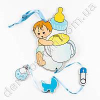 """Детская гирлянда-подвеска """"Малыш с бутылочкой"""", голубая"""