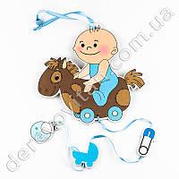 """Детская гирлянда-подвеска """"Малыш на лошадке"""", голубая"""