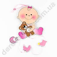 """Детская гирлянда-подвеска """"Малышка с мишкой"""", розовая"""