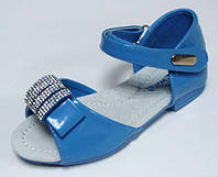 Красивые летние босоножки для девочек c кожаной ортопедической стелькой р.27,28 Румыния голубые с белым