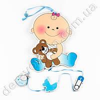 """Детская гирлянда-подвеска """"Малышка с мишкой"""", голубая"""