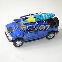 Машинка Hummer H2 SUV 1:40 метал доска серф синяя