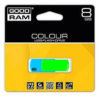 Флешка, USB Флеш накопитель Goodram голубая с салатовым 8GB