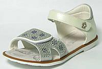 Красивые нарядные босоножки с кожаной ортопедической стелькой р.32-37 для девочек белые с серебром
