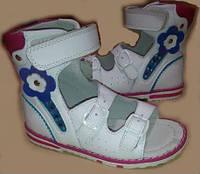 Детские кожаные высокие ортопедические босоножки р.21-26 для девочек белые