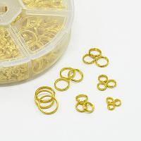 Набор Двойных Колечек 4~10мм, Железные, Цвет: Золото, Размер колечек 4мм/5мм/6мм/7мм/8мм/10 мм - общий вес 133г, Толщина 1-1.3мм, (УТ0027778)