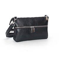 Кожаная женская сумочка М28 черный флотар