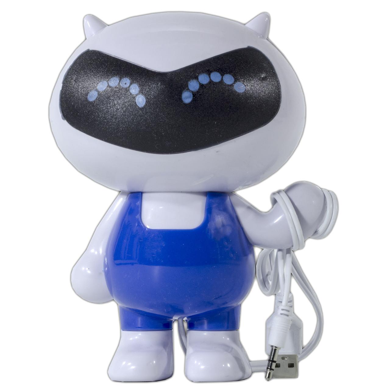 Динамик компьютерный SMART бело-голубой для музыки в виде игрушки мощное звучание с питанием от USB джек 3,5