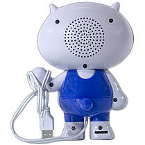 Динамик компьютерный SMART бело-голубой для музыки в виде игрушки мощное звучание с питанием от USB джек 3,5, фото 3