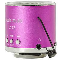 Универсальная мини-колонка Lesko Z-12 розовая портативный спикер динамик с USB microSD TF card FM радио mp3