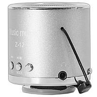 Компактная мини-колонка Lesko Z-12 серебристая портативный спикер динамик с USB microSD TF card FM радио mp3