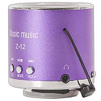 Супер мини-колонка Lesko Z-12 фиолетовая для музыки speaker динамик FM-радио USB microSD TF card поддержка MP3