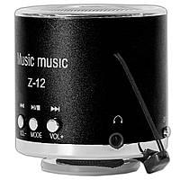 Музыкальная мини-колонка Lesko Z-12 черная моно спикер с FM-радио поддержка mp3 microSD TF card USB AUX