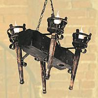 Люстра из дерева Факел - Римский - Балка 4 лампы Старая Бронза, Дерево Состаренное темное