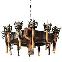 Люстра из дерева Факел - Римский 12 ламп Старая Бронза, Дерево Состаренное светлое