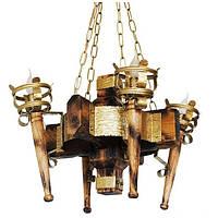 Люстра из дерева Факел - Римский 4 лампы Золото Лак, Дерево Состаренное светлое
