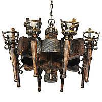 Люстра из дерева Факел - Римский 8 ламп Старая Бронза, Дерево Состаренное темное