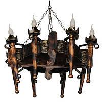 Люстра из дерева Факел - Дачный 8 ламп Старая Бронза, Дерево Состаренное темное
