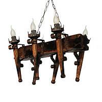 Люстра из дерева Факел - Стандарт - Балка 6 ламп Старая Бронза, Дерево Состаренное темное