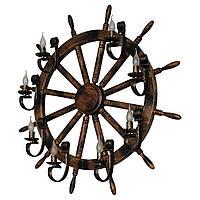 Настенный светильник из дерева Штурвал - Корабельный Кованый 8 ламп Старая Бронза, Дуб Темный