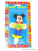 "Свеча на торт для мальчиков ""Микки Маус: Happy Birthday!"""