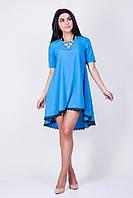Нежное красивое голубое платье трапеция с черным кружевом