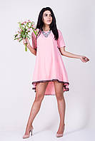 Молодежное розовое платье трапеция