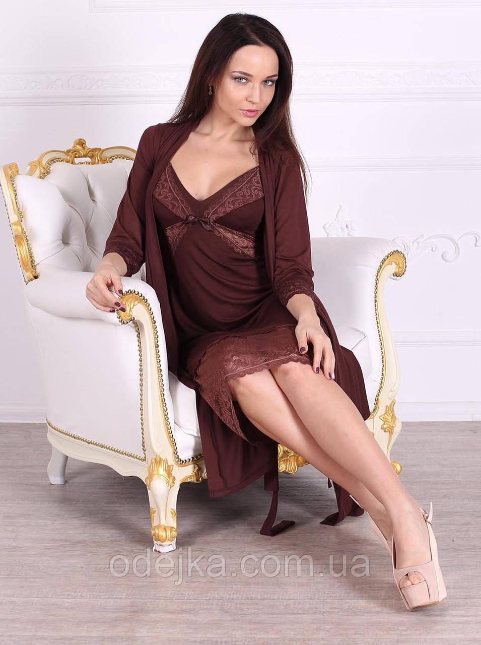 Халат вискозный красивого шоколадного цвета 274 Роксана