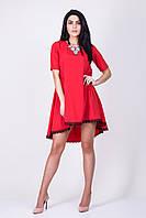 Романтическое красное платье трапеция красного цвета