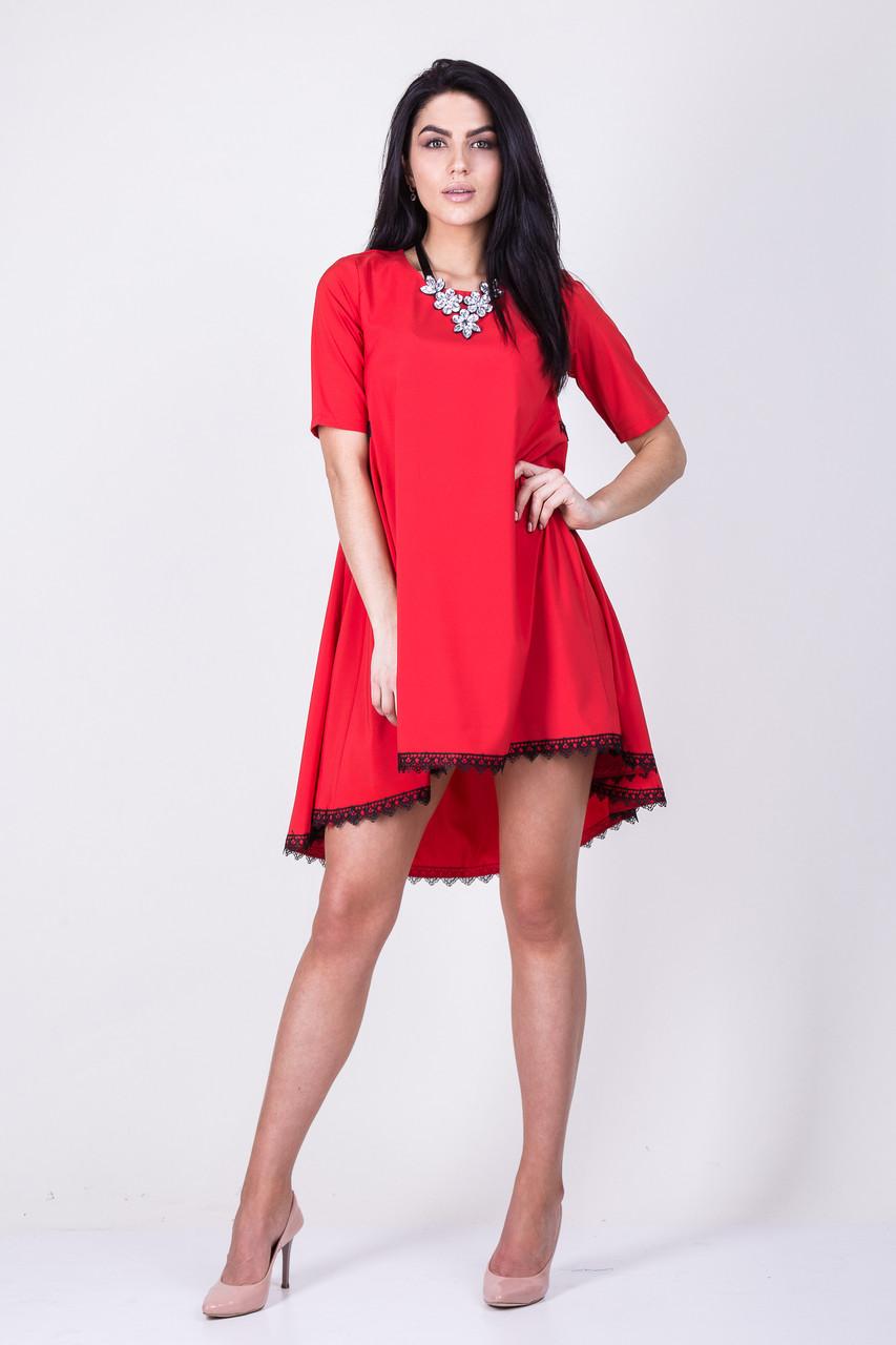 Платье трапеция красное