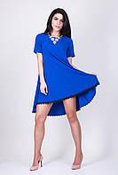 Женское синее платье трапеция с кружевом