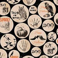 """Ткань для пэчворка и рукоделия американский хлопок """"Halloween в кругах"""" - 45*55 см"""