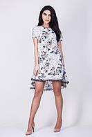 Летнее женское белое платье с синими бабочками