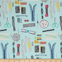 """Ткань для пэчворка и рукоделия американский хлопок """"Sew in blue"""" - 22*55 см"""