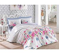 Хлопковый комплект постельного белья ЕВРО размера Cotton Box SANDREA MAVI CB03