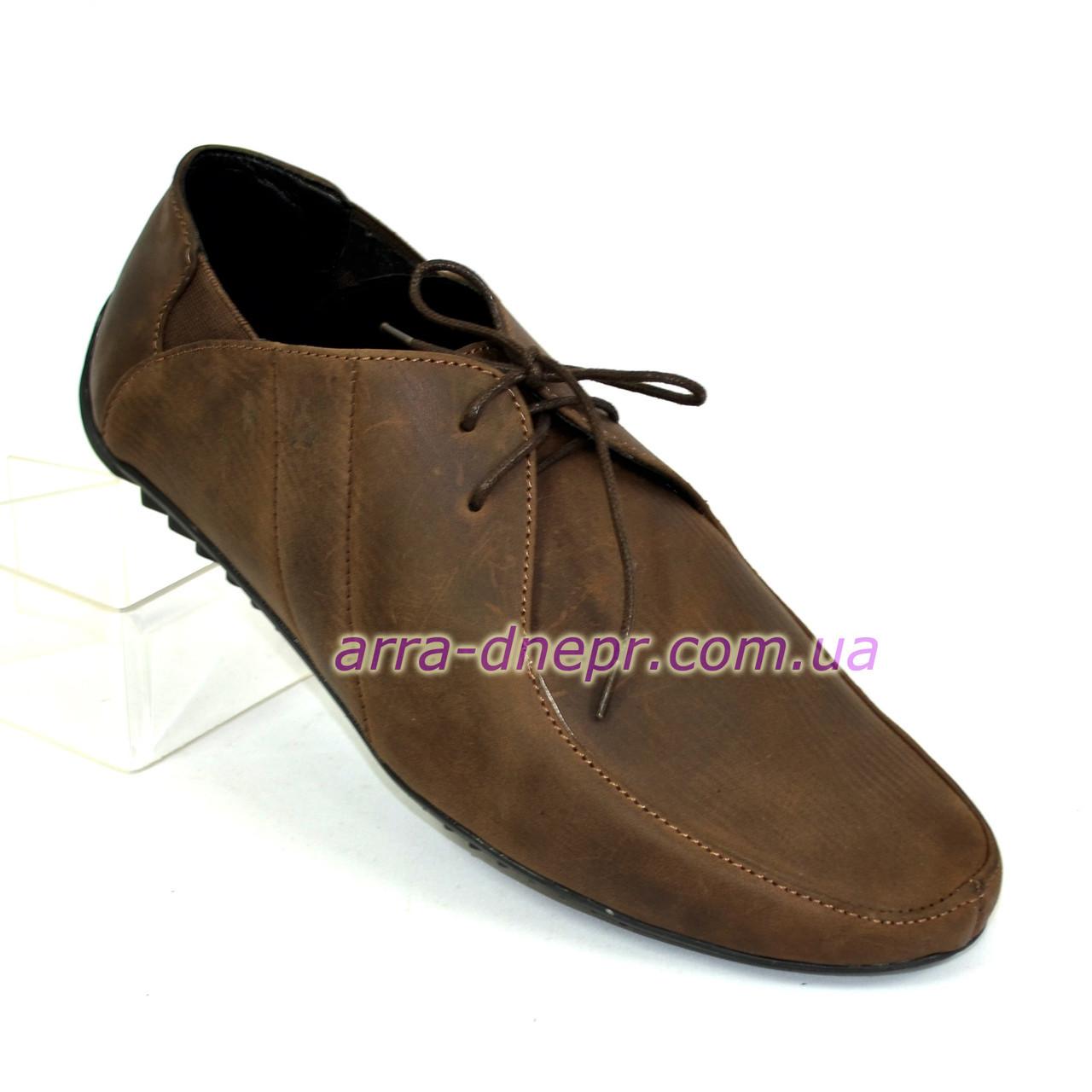 Туфли кожаные мужские на шнуровке, цвет коричневый